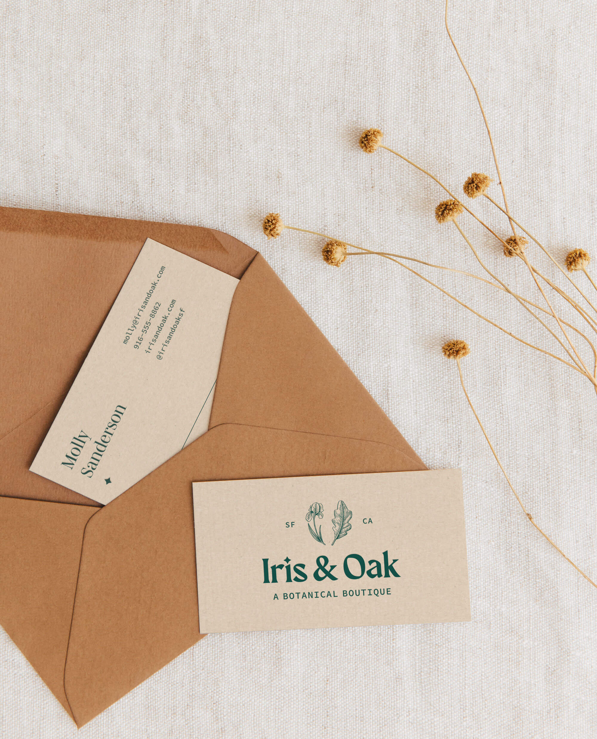 Iris & Oak business cards