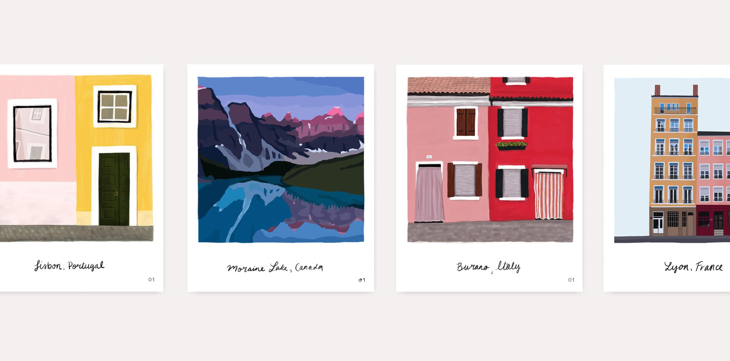 Mariel Feldman illustration travel postcards