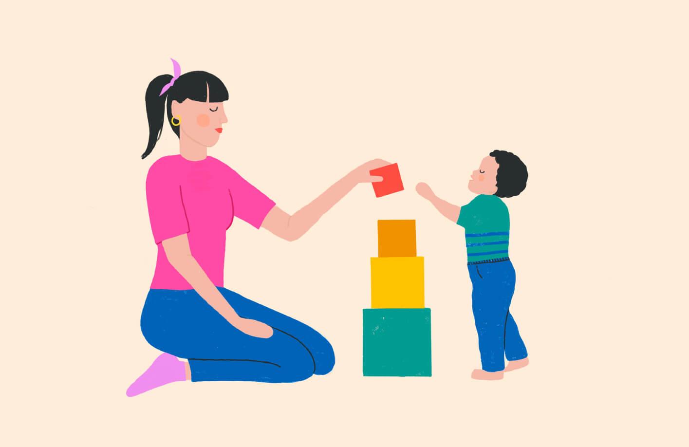 Small Talk mother son illustration