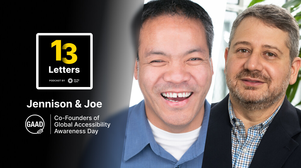 13 Letters Podcast graphic next to Global Accessibility Awareness Day founders, Jennison Asuncion and Joe Devon.