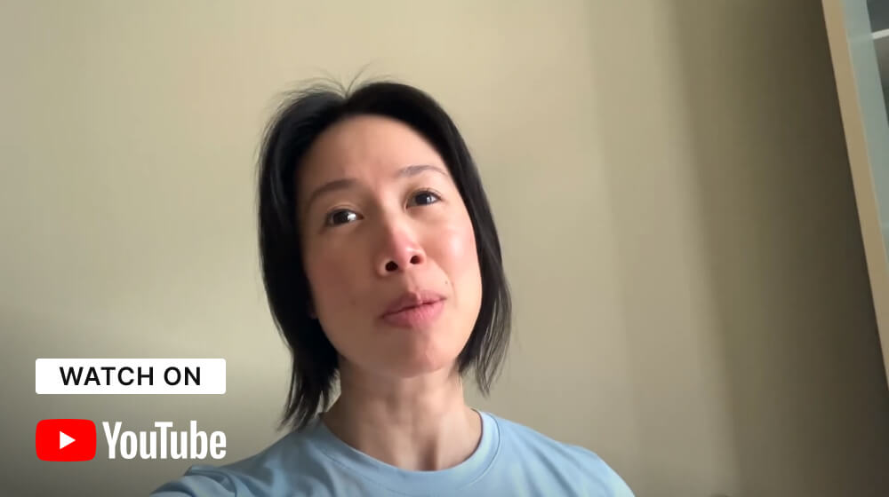 """Restaurateur Christine Ha finishing the statement """"Accessibility Is"""" with the """"Watch On YouTube"""" graphic in the bottom left corner."""