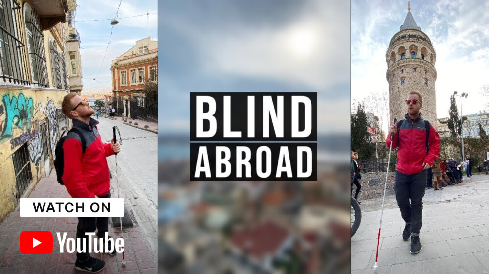 """Two separate images of James Rath exploring a foreign city with his show title """"Blind Abroad"""" in the middle of the image."""