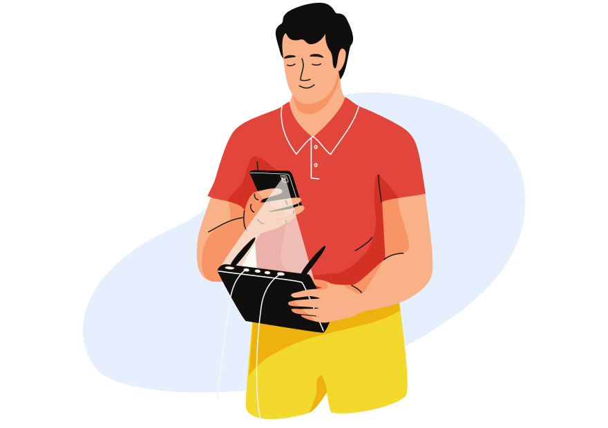 Illustration of blind customer pointing his phone on a box-shaped device.