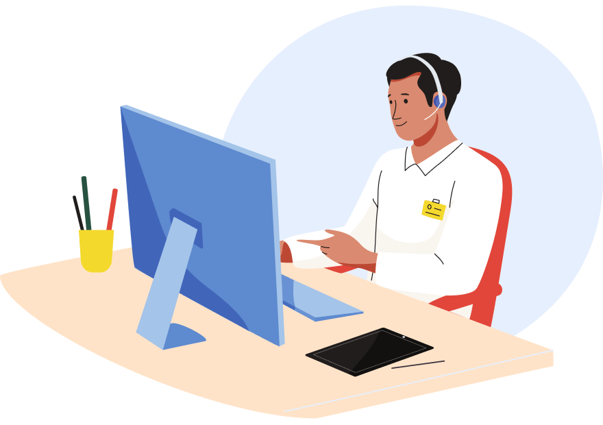 Illustration of customer support agent answering video call from his desktop computer.