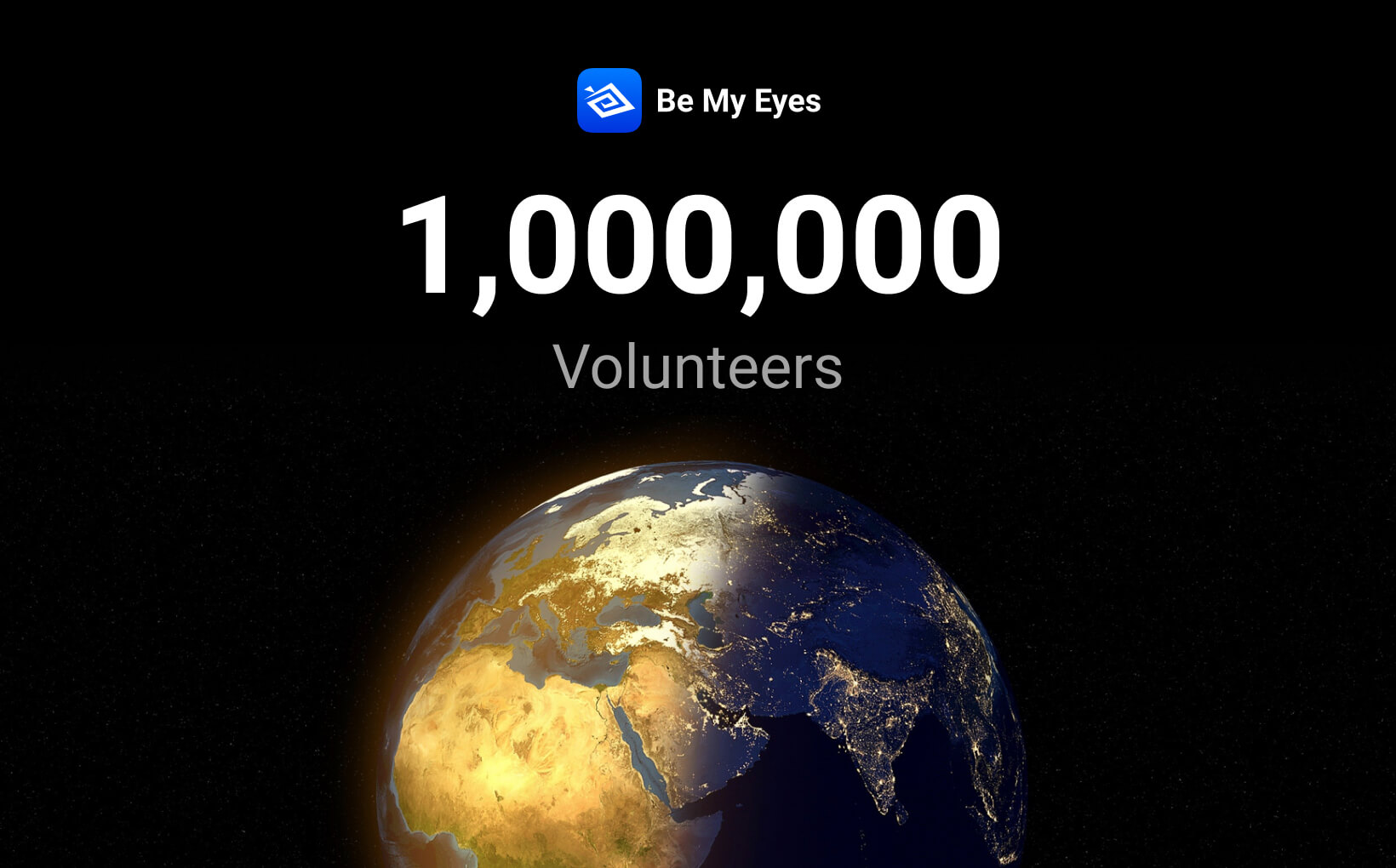 A half-lit globe is pictured before a dark background below the Be My Eyes logo showcasing the exicting new number of volunteers - one million!
