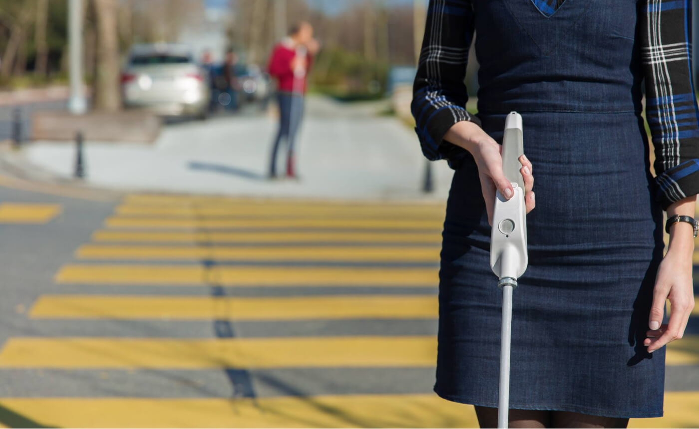 WeWalk smart white cane is able to detect obstacles with its ultrasonic sensor.