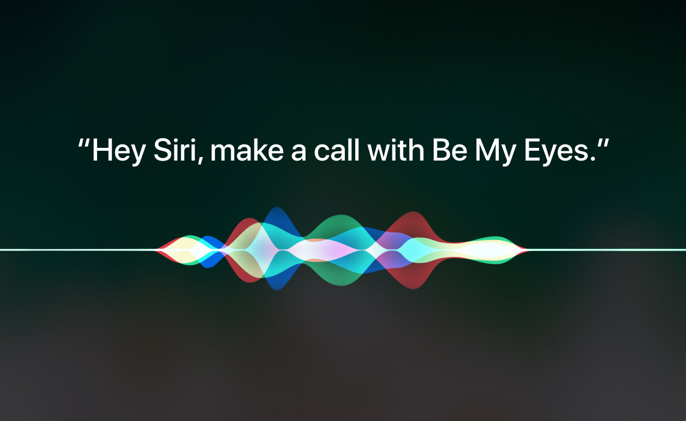 "Image displaying the Siri soundwaves with the words ""Hey Siri, make a call with Be My Eyes."""