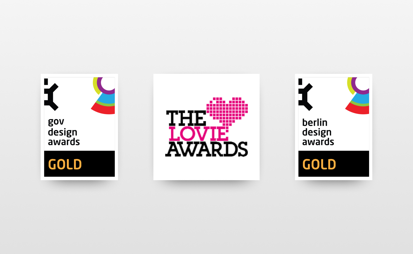 Image displaying the logos of GOV Design Awards, Lovie Awards and Berlin Design Awards.