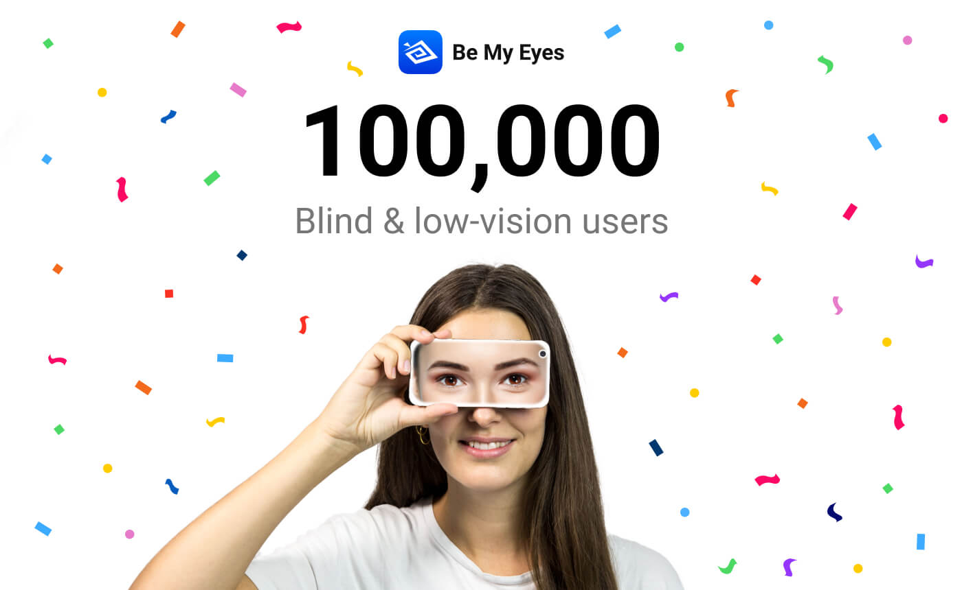"Picture of a young woman holding a phone horizontally in front of her eyes, which has a different set of eyes on the back. The background of the picture is white with colorful confetti raining down. The image reads: ""Be My Eyes 100,000 Blind and low-vision users""."