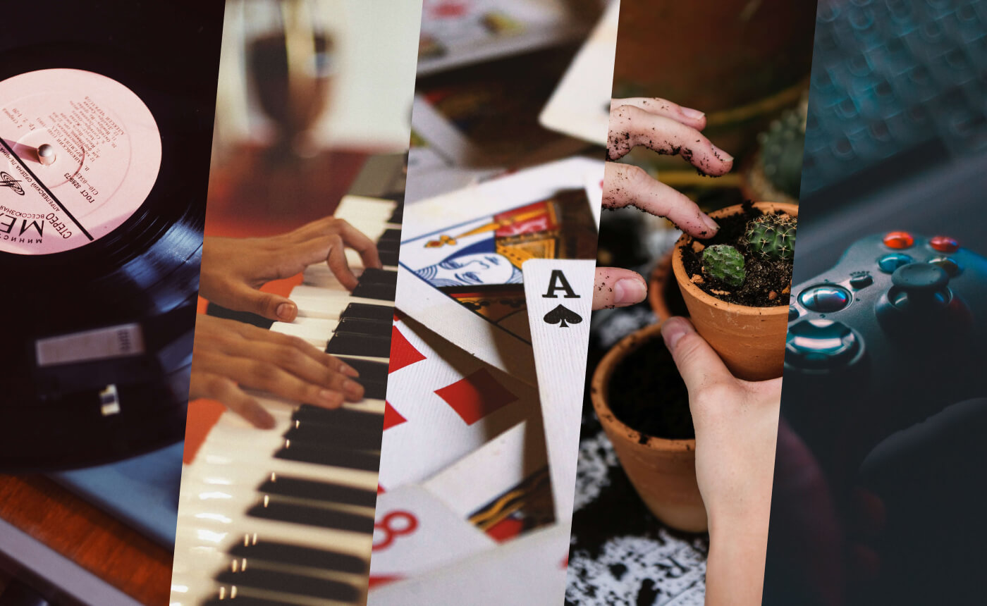 Image split into five; a vinyl record, someone playing the piano, playing cards, planting, and a gaming console.
