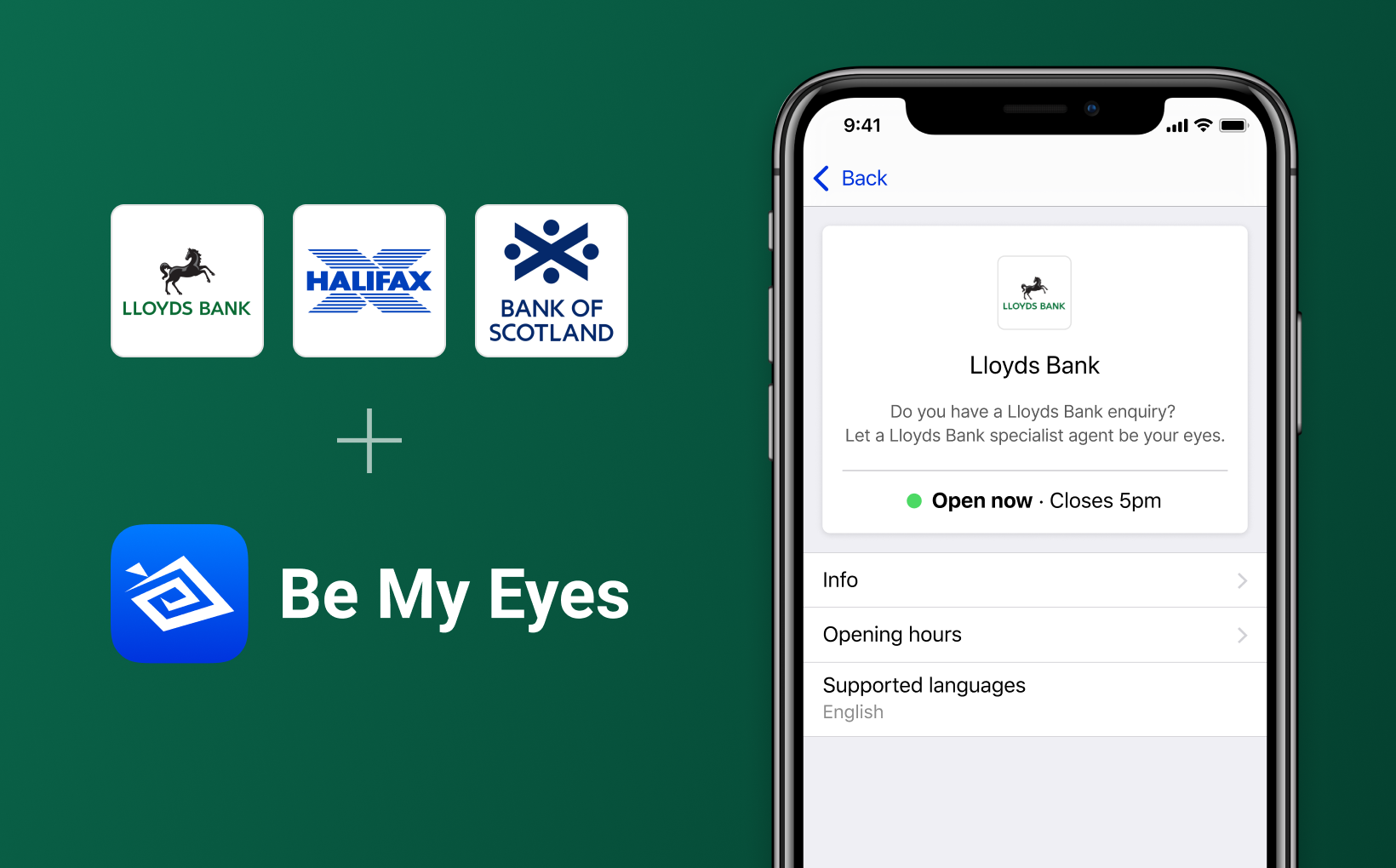 Smartphone showing Lloyds Bank's profile on the Specialised Help platform, along with the logos of Lloyds Bank, Halifax and Bank of Scotland + Be My Eyes.