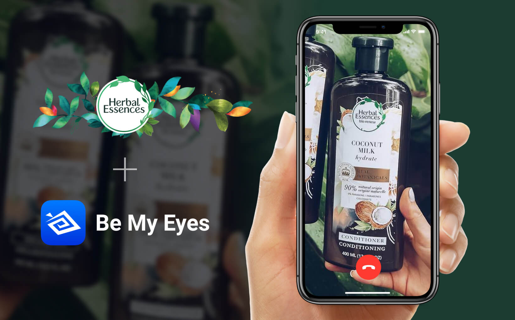 Hand golding phone. On the screen is an ongoing Be My Eyes call concerned with an Herbal Essences Coconut Milk Conditioner. The image features the logos of Herbal Essences and Be My Eyes.