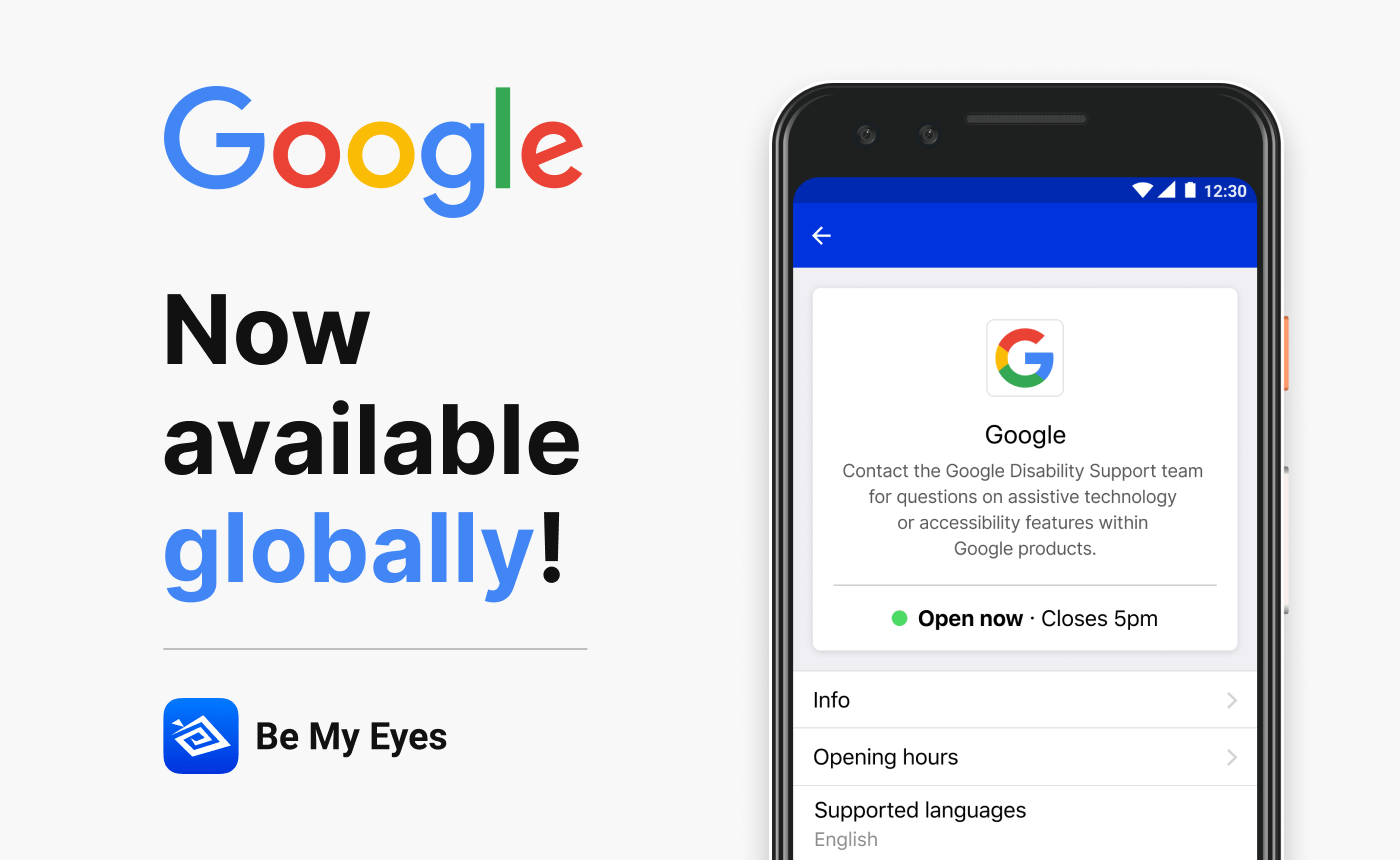 "Smartphone showing the Google profile on Be My Eyes' Specialized Help platform. The image reads ""Google now available globally"" together with the Be My Eyes logo."