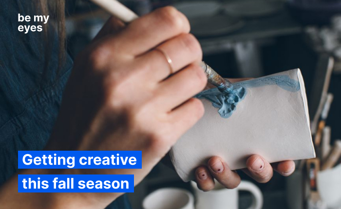 "Woman painting a mug made out of ceramics. Text reads: ""Getting creative this fall season""."