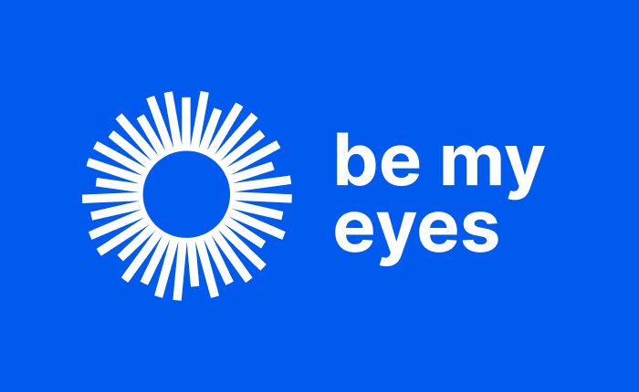 The new Be My Eyes logo in white on a blue background