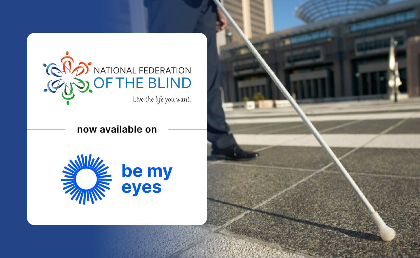 Man walking with a white cane. Over the photo is the logo of the NFB together with their tagline 'Live the life you want'.