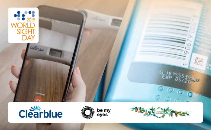 One side of image shows a Be My Eyes call with a Clearblue pregnancy test. The other side shows the tactile markings on an Herbal Essences conditioner bottle. Images features logos of World Sight Day 2019, Clearblue, Be My Eyes, and Herbal Essences.