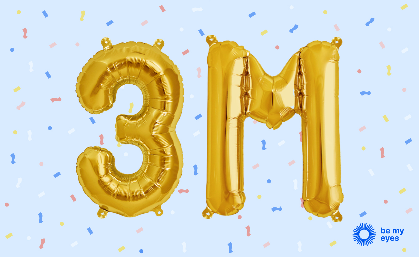 """3 M"" written with gold balloons with confetti in the background."