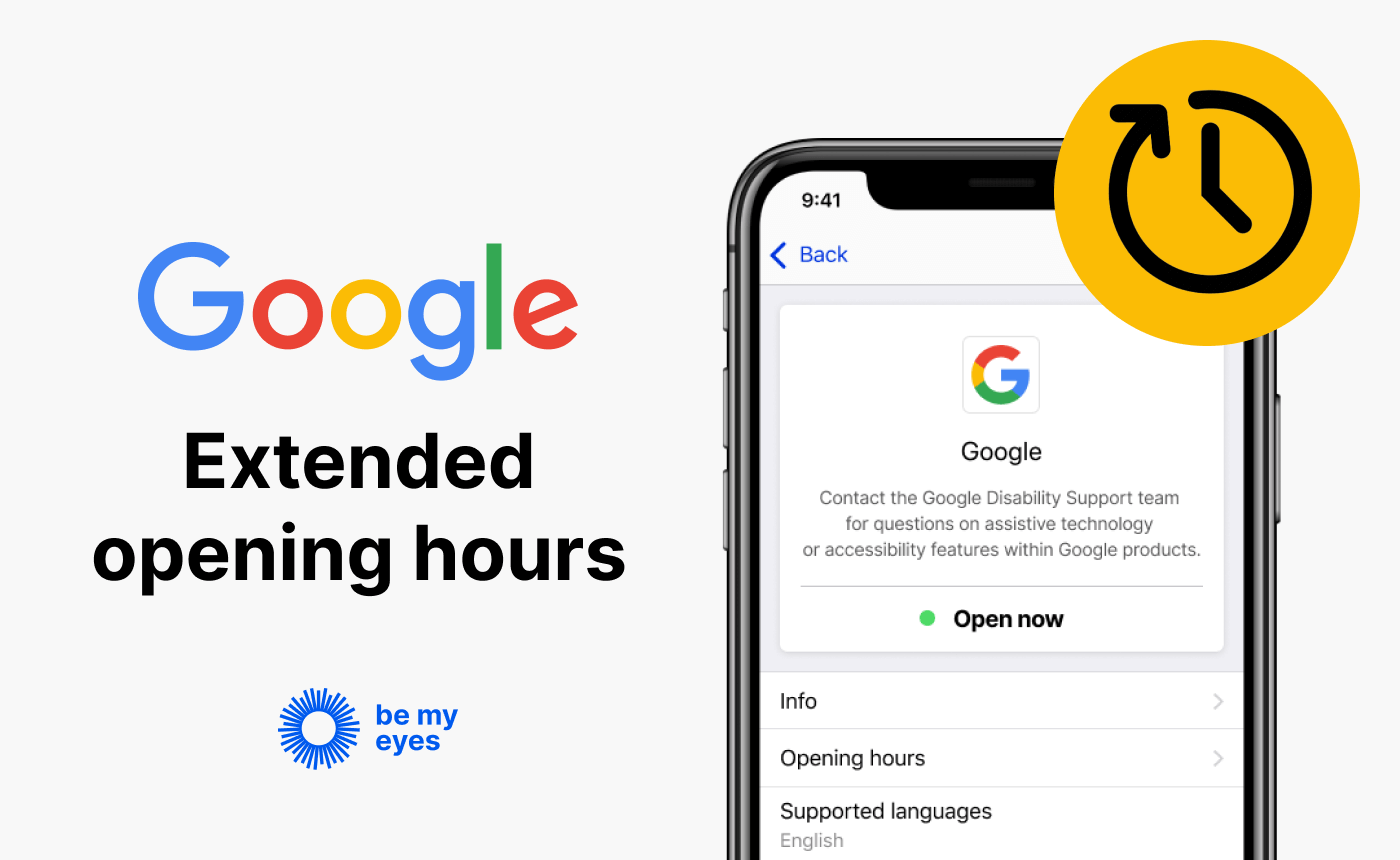 "Google's profile on Be My Eyes Specialized Help along with the text: ""Google extended opening hours""."