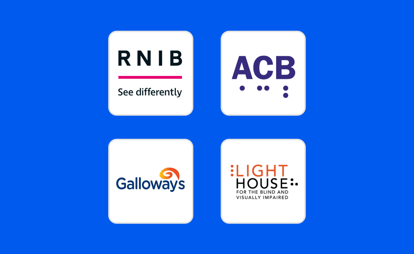 The logos of RNIB, ACB, Galloway's and Lighthouse San Francisco on a blue background