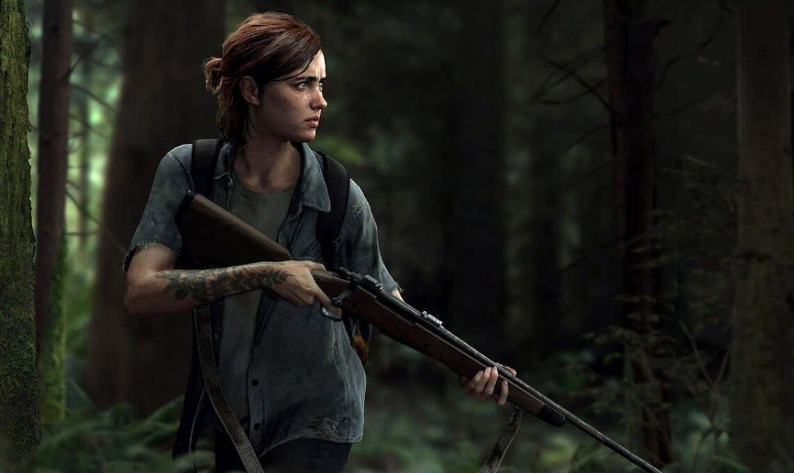 Promotional image of Ellie, the protagonist from The Last of Us II, cautiously looking into the surrounding forest while holding a rifle at the ready.