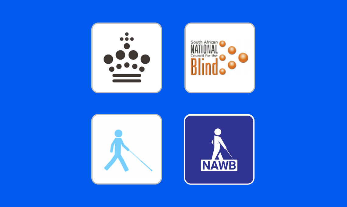 The logos of Nota, SANCB, Synscentralen and NAWB.