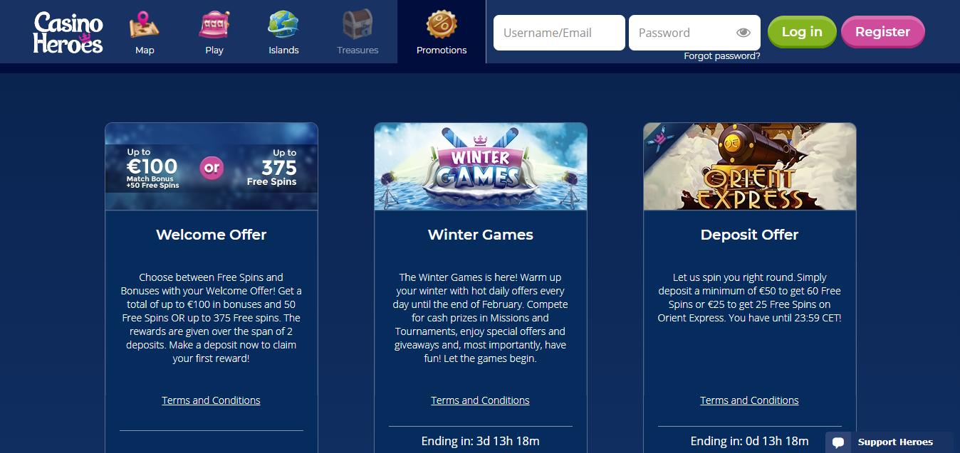 Casinoheroes Casino tarjoaa pelaajilleen paljon erilaisia bonuksia ja tarjouksia