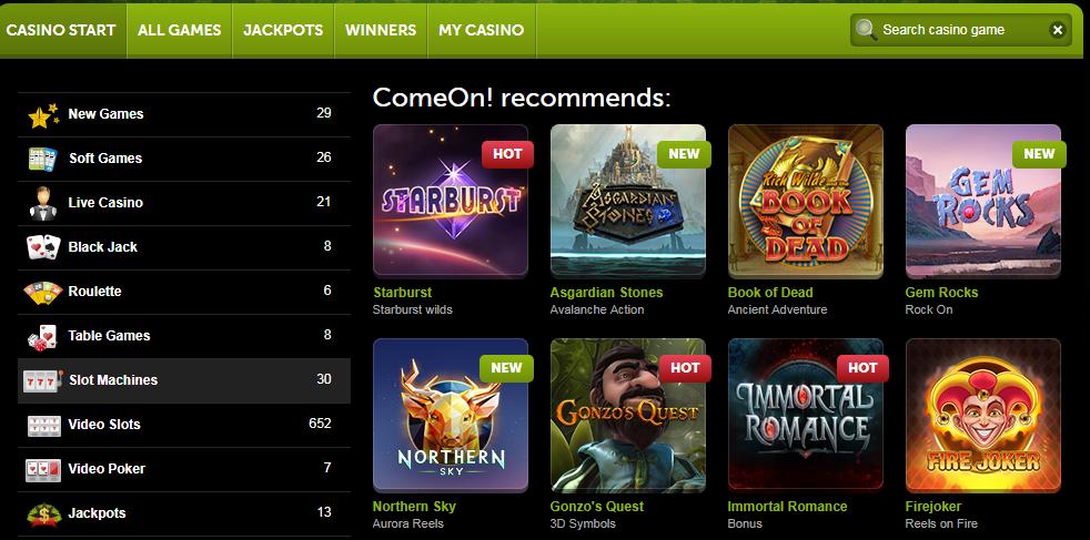 Comeon Casino on parasta laatua tarjoava nettikasino