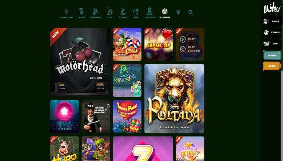 Ikibu Casino sisältää yli 800 peliä, jotka kaikki on selkeästi kategorisoitu