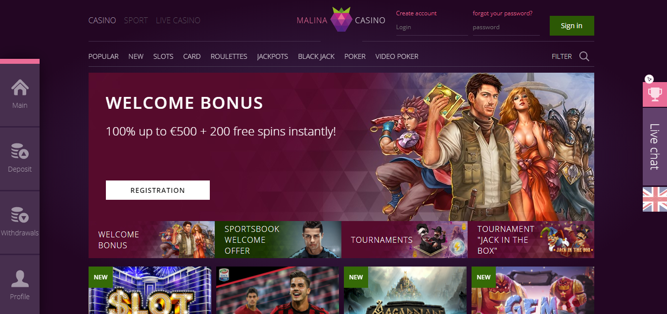 Malina Casino bonukset kaikille pelaajille