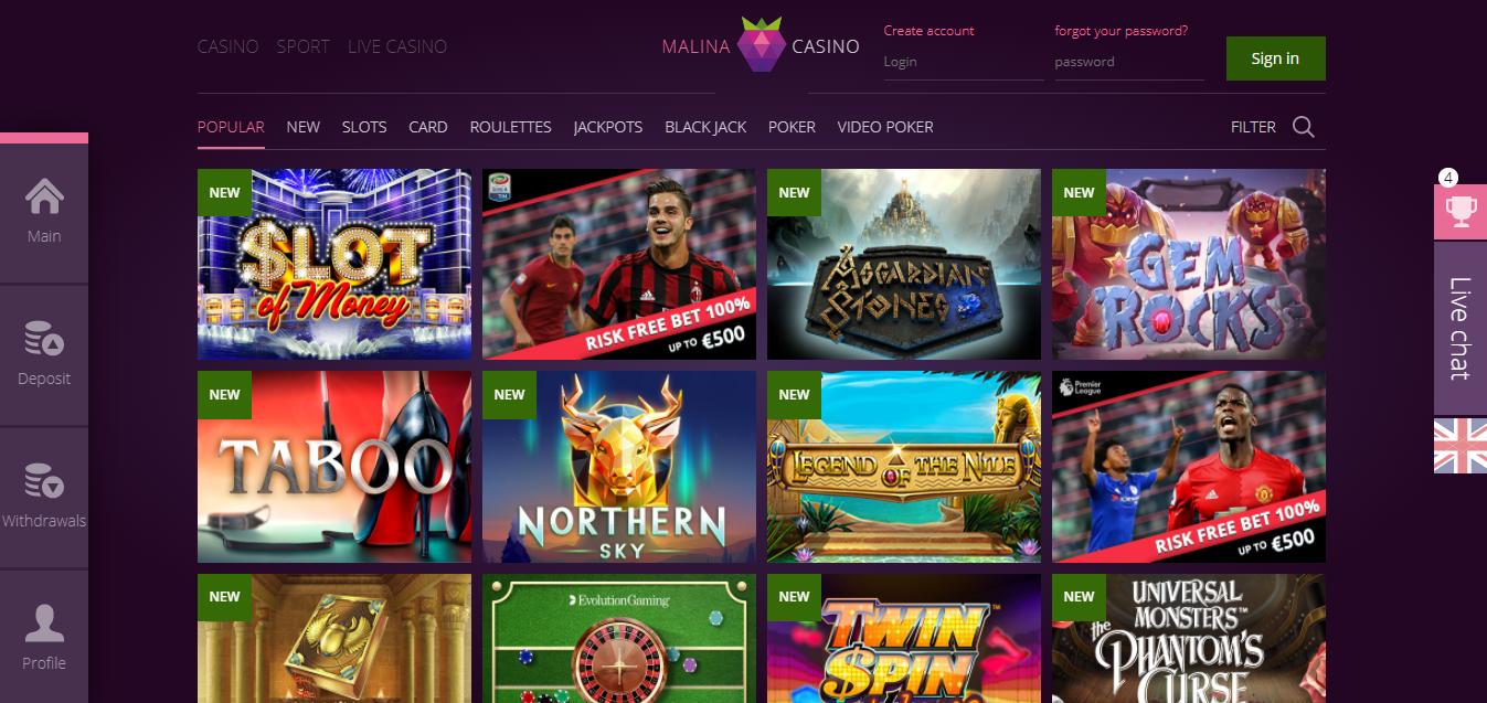 Malina Casino - Pelaa kasinolla, nauti urheiluvedon tuomasta jännityksestä tai nauti upeasta kasinoelämyksestä live-kasinolla