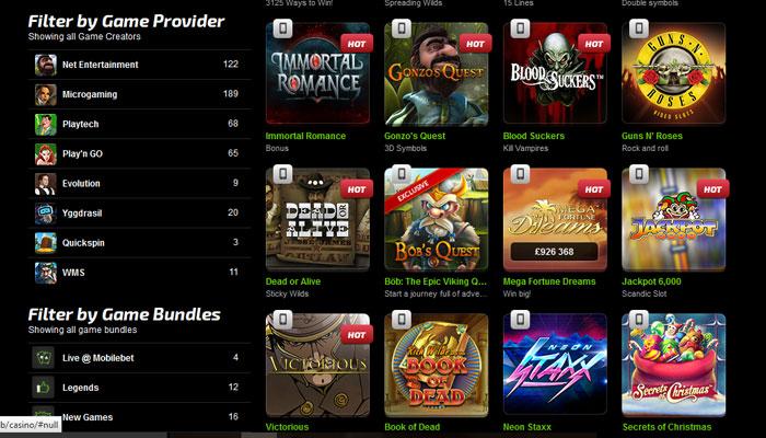 Mobilebet Casino massiivinen pelivalikoima