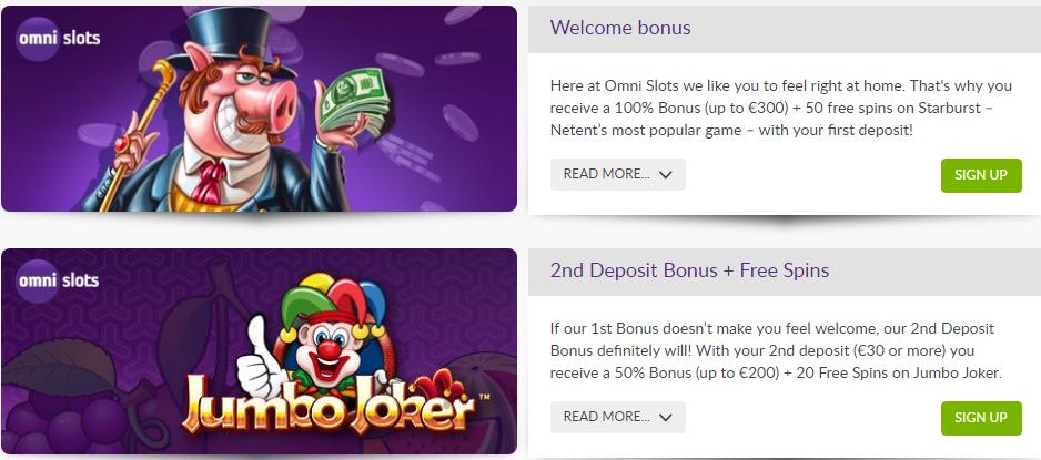 Omnislots Casino tarjoaa kohtuulliset bonukset