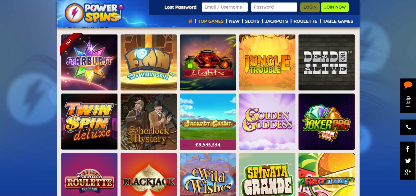 Powerspins Casino tarjoaa paljon eri pelejä