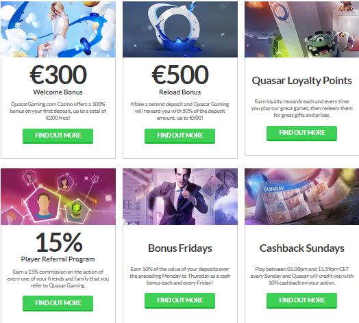 Quasar Casino tarjoaa paljon erilaisia bonuksia