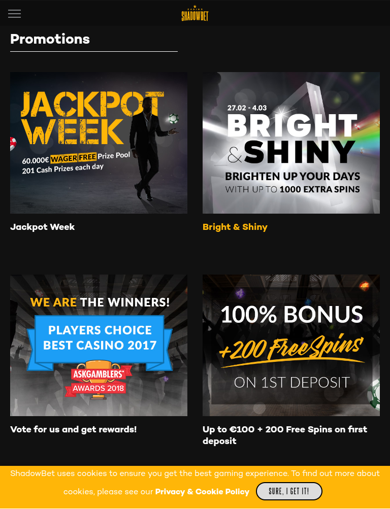 Shadow Bet Casino - bonukset niin uusille kuin vanhoille pelaajille