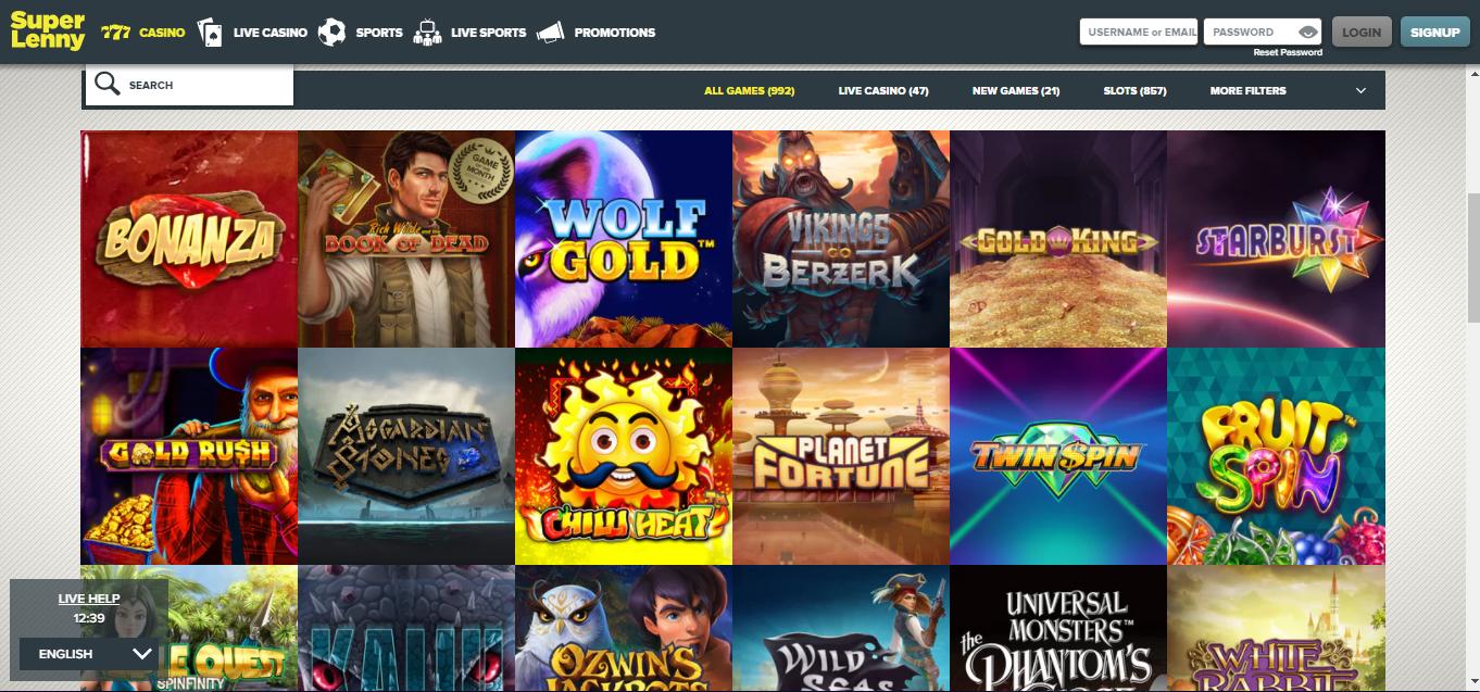 Superlenny Casino - pelivalikoimaa voi selata hakusanoin