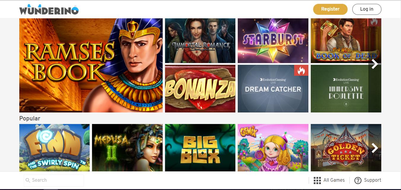 Wunderino Casino sisältää paljon korkealaatuisia kolikkopelejä