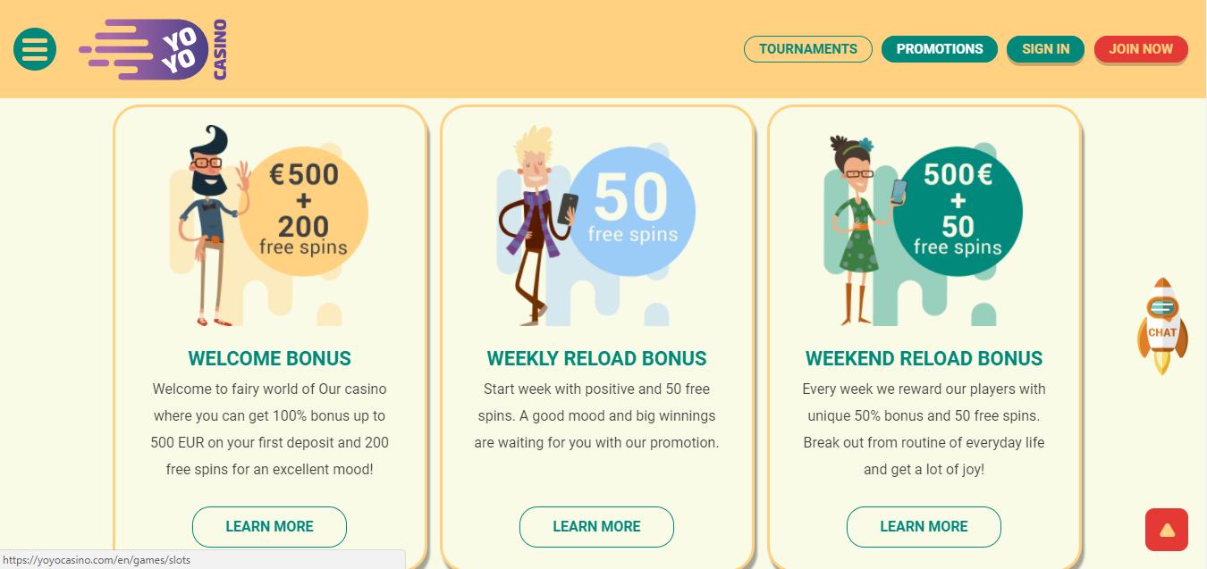 YoyoCasino tarjoaa paljon erilaisia bonuksia kaikkien pelaajien makuun