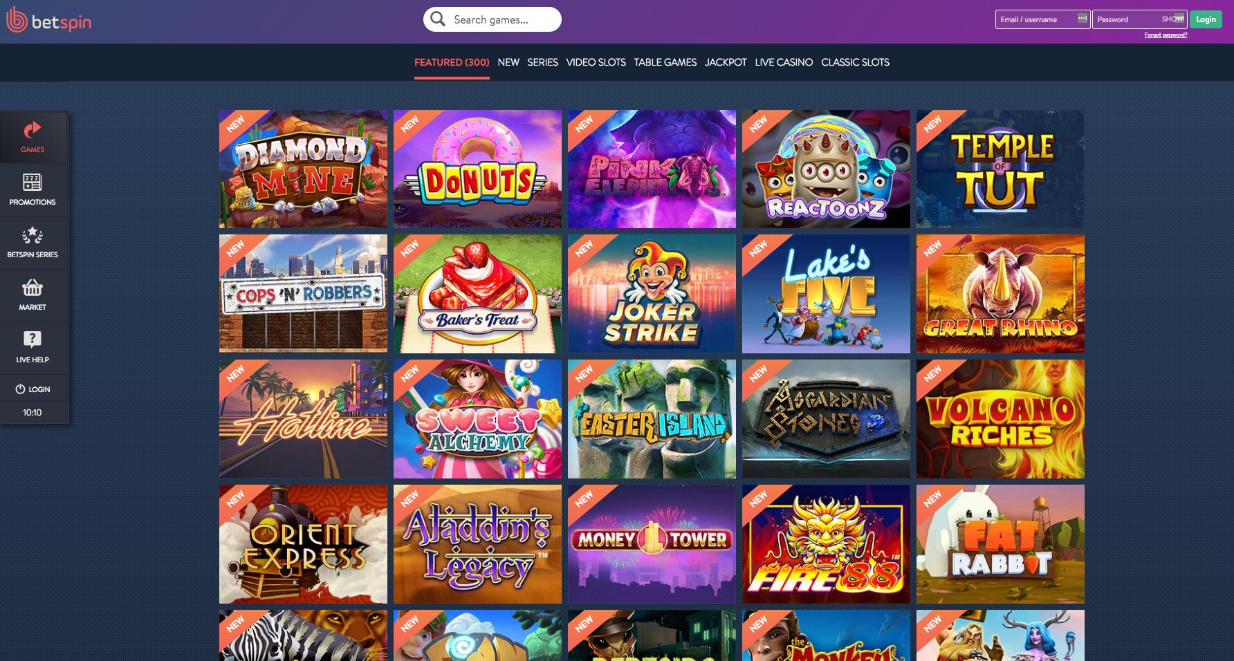 Betspin Casino upea pelivalikoima