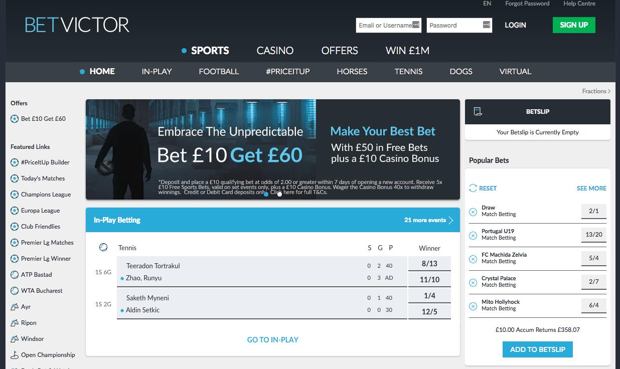 Bet Victor Casino tarjoukset