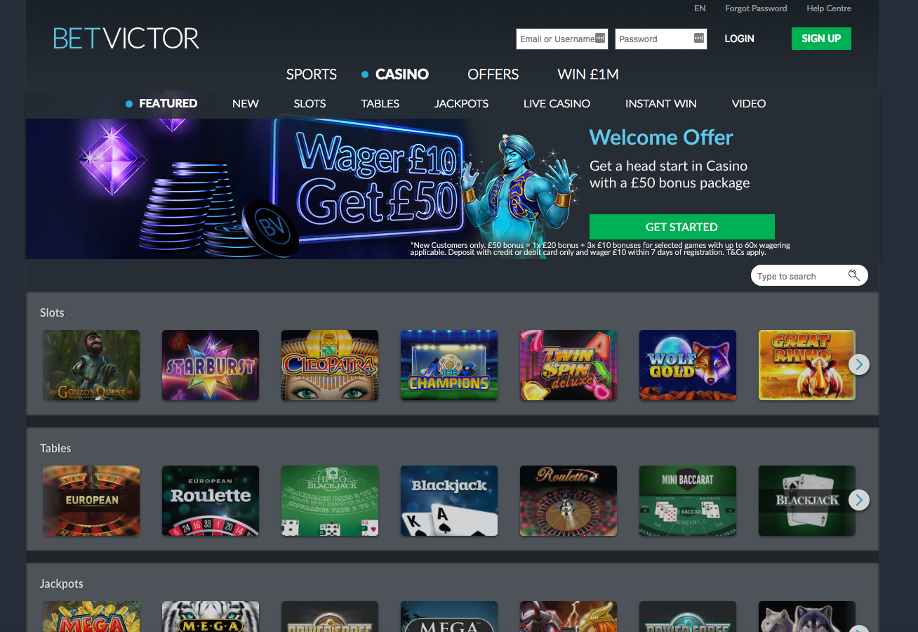 Bet Victor Casino pelivalikoima