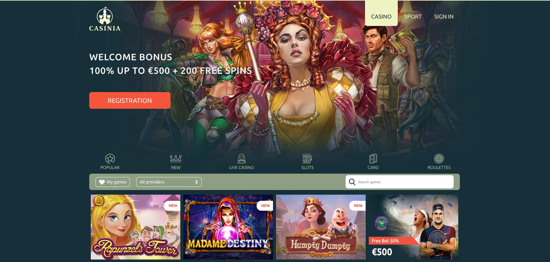 Casinia Casino tarjoaa asiakkailleen runsaasti etuja. Tervetuliaisbonuksen lisäksi kasinolla erilaisia viikoittaisia kampanjoita, joissa rekisteröityneitä pelaajia palkitaan ilmaiskierroksilla ja talletusbonuksilla.