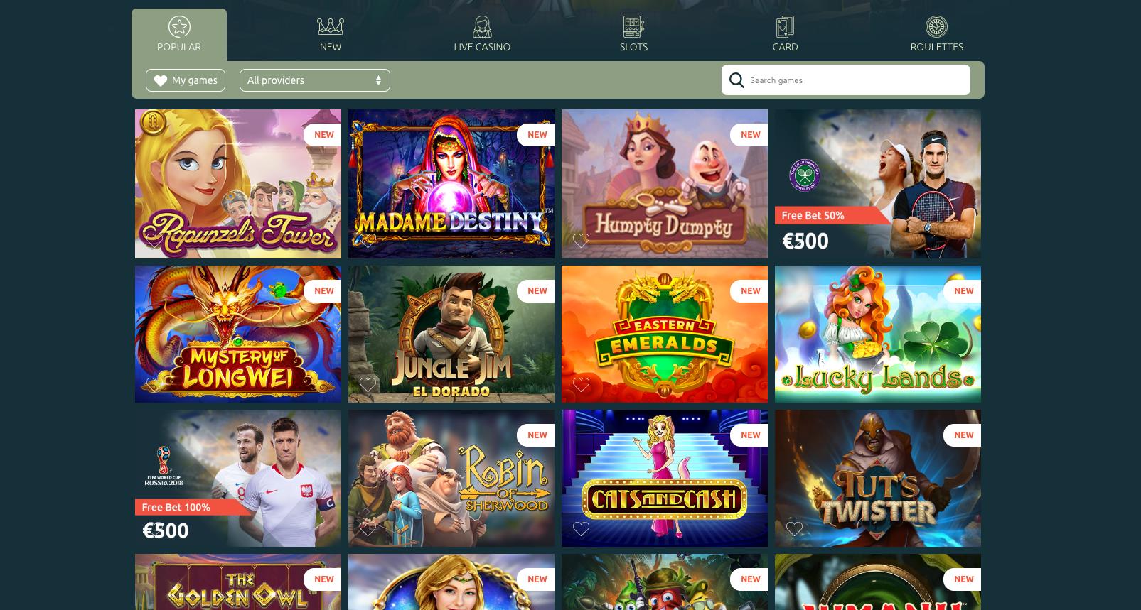 Casinia Casino tuo pelaajien ulottuville paljon viihdyttäviä kolikkopelejä. Valitse suosikkisi erilaisten hakuehtojen avulla tai pelaa kasinon suosittelemia pelejä.