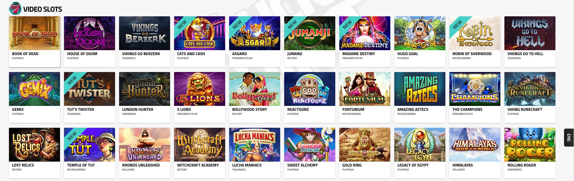 Kun etsit slotteja, valitse Luckydino Casino