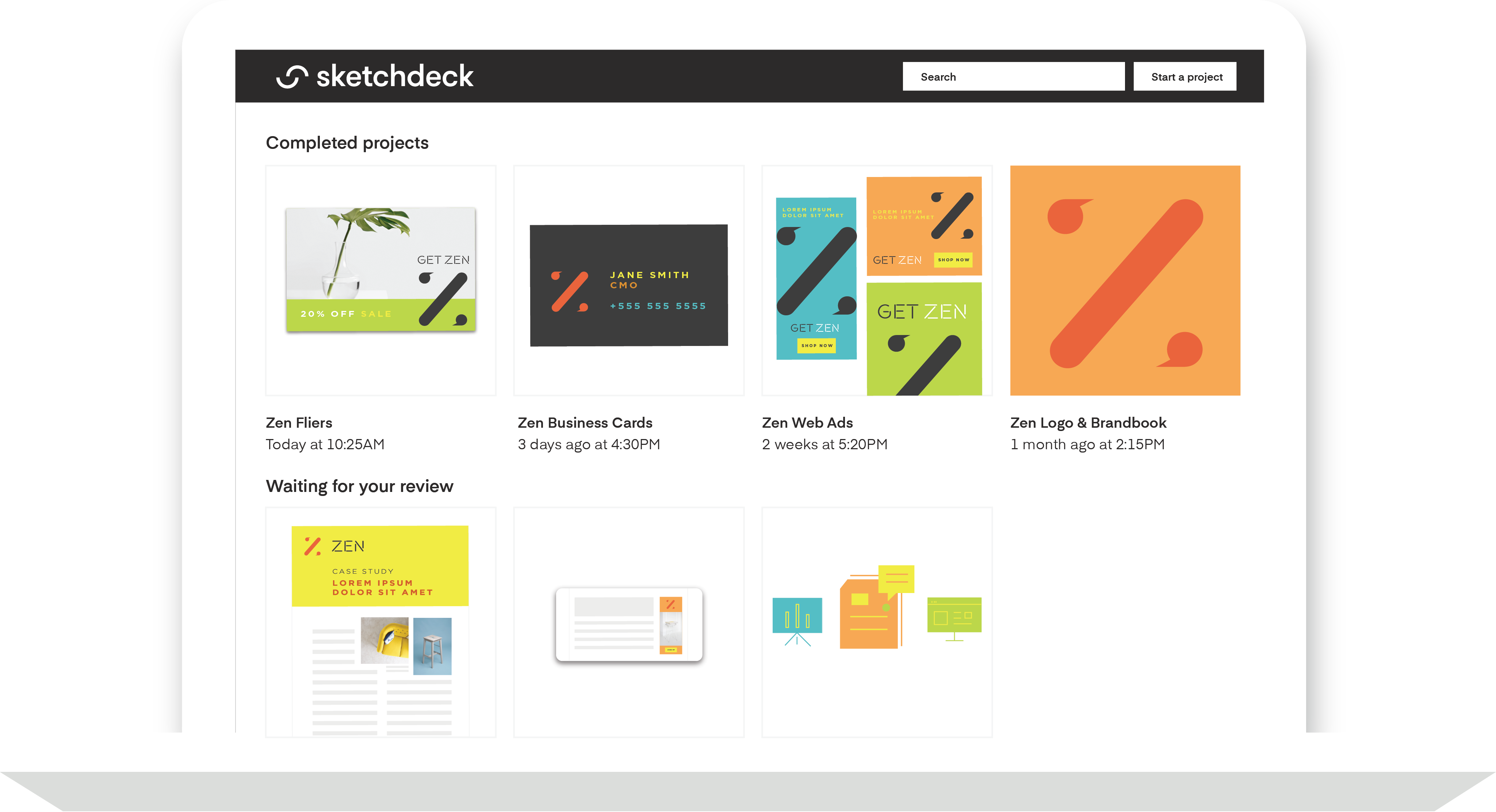 Mockup of the SketchDeck dashboard