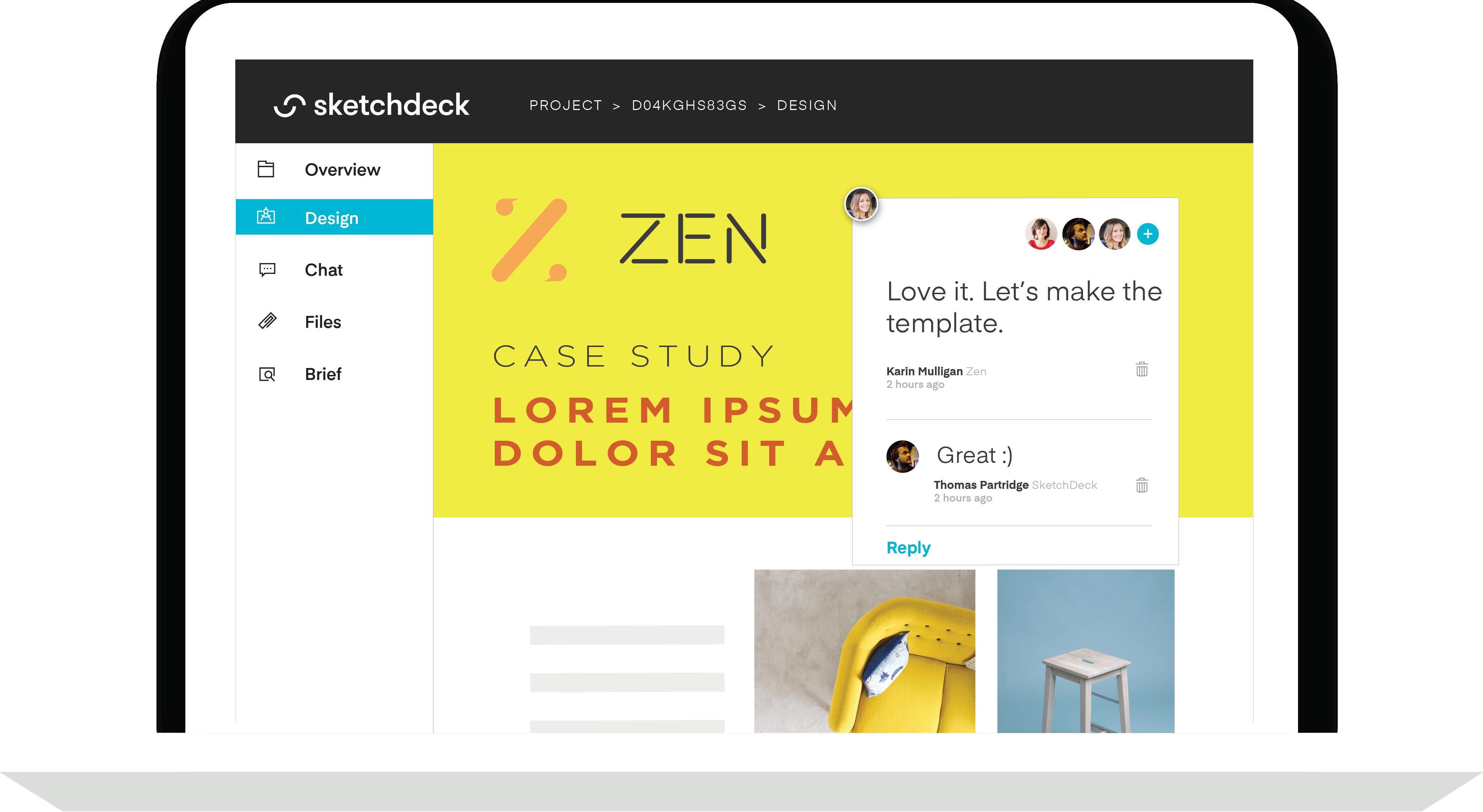 Mockup of the SketchDeck feedback system