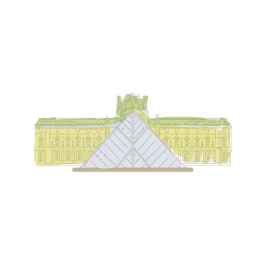 A sketch of the Louvre in Paris