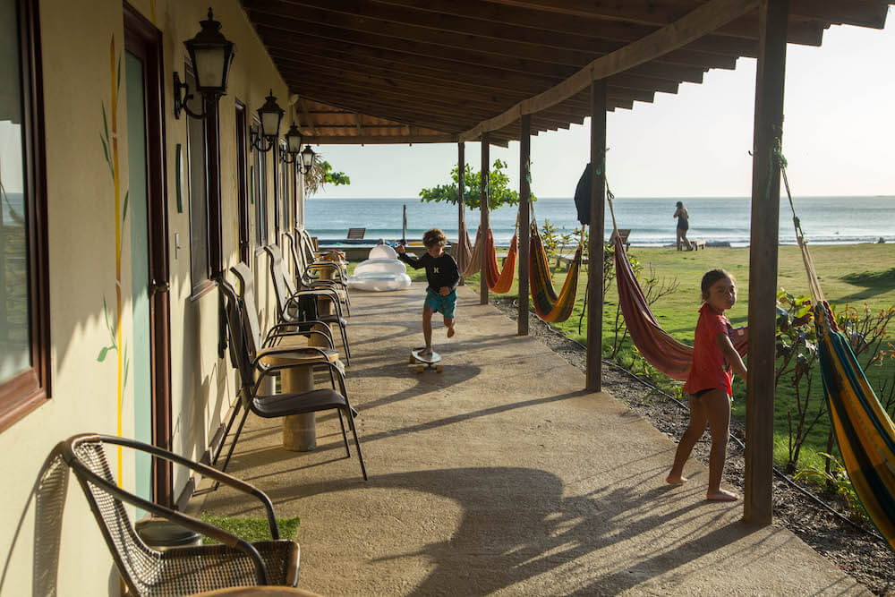 kids playing at surf camp hotel in panama