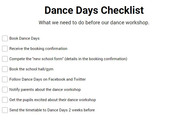 Dance Days Checklist